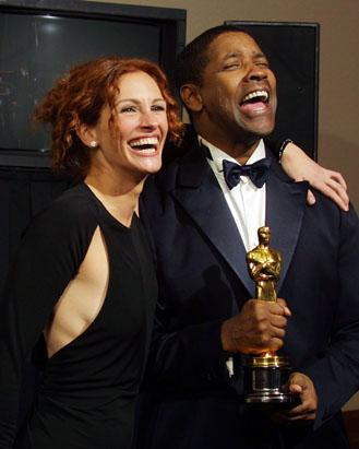 What two movies did Denzel Washington win an Oscar for?